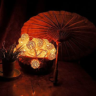 Goodia LED Fairy Light/4cm Cream White Rattan Ball String Light(Battery Operated)---Ideal for Wedding,Home,Garden, Christmas Party (Gift:10 Sliver/Golden Moroccan Orb Battery Operated LED Fairy Lights)