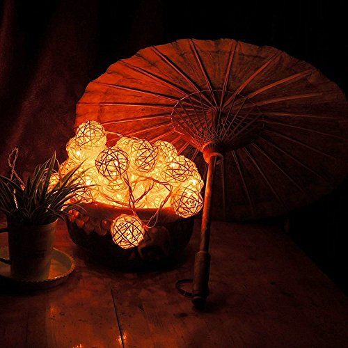 Goodia-LED-Fairy-Light4cm-Cream-White-Rattan-Ball-String-LightBattery-Operated-Ideal-for-WeddingHomeGarden-Christmas-Party
