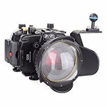 EACHSHOT 40m/130ft Underwater Diving Camera Housing for Canon G5X + 67mm Fisheye Lens + Aluminium Diving handle + 67mm Red Filter