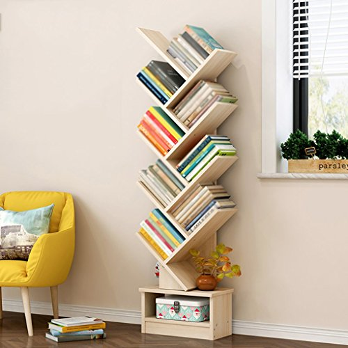Bookshelf Floorstanding Students Shelf Simple Modern Bookcase Economical Living Room Tree Small Storage Rack (Color : Maple Sakuragi, Size : 9-Tier)