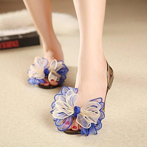 crystal piedi appartamento GTVERNH trentotto scarpe le i candy scarpe fiori spiaggia blu sandali i appartamento OwSSqYzf