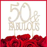 LOVENJOY with Gift Box 50 Fifty and Fabulous Happy Birthday Milestone Cake Decoration Topper Gold (5.5-inch)