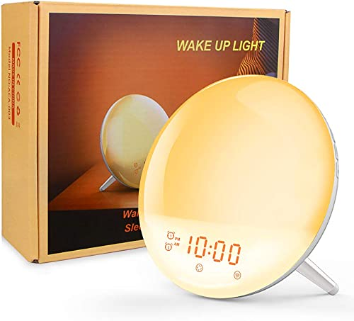Wake Up Light Alarm Clock – 8 Colored Sunrise Simulation Sleep Aid Feature LED Digital Alarm Clock with FM Radio, 7 Natural Sound and Snooze for Kids Adults for Bedrooms, Bedside, Desk, Shelf