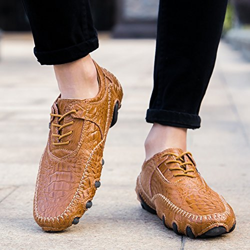 up No Shoes Flats Fashion Casual Driving Octopus Loafers Town Leather lace Brown Style 66 Men's 6qRr6AB