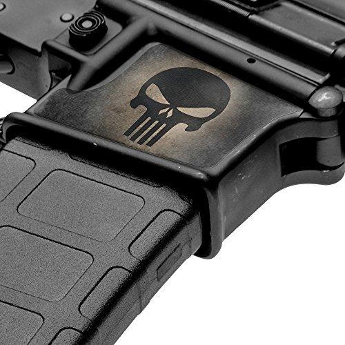 GunSkins Magwell Skin Specialty Vinyl Decal for AR-15/M4 Lower Receivers (Skull Black)