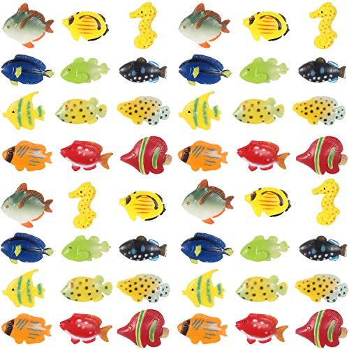 Plastic Tropical Fish - Boao 48 Pieces Tropical Fish Figure Play Set, Tropical Fish Party Favors, Assorted Plastic Fish Toys, Sea Animals Toys for Kids,