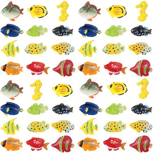 Fish Toy - Boao 48 Pieces TropicalFishFigurePlaySet, TropicalFishPartyFavors,AssortedPlasticFishToys, SeaAnimalsToysforKids, 1.5 Inch Long
