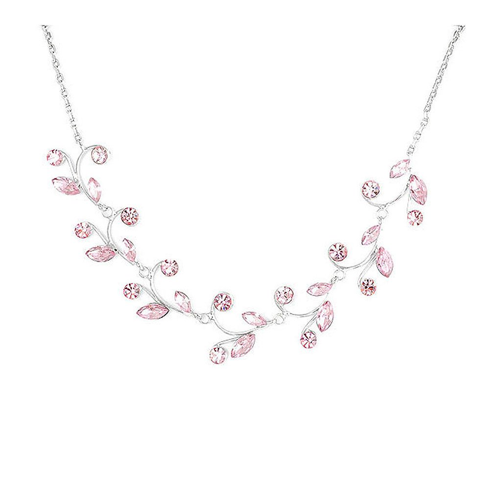 Glamorousky Pink Leaves Necklace with Pink Austrian Element Crystals (978)