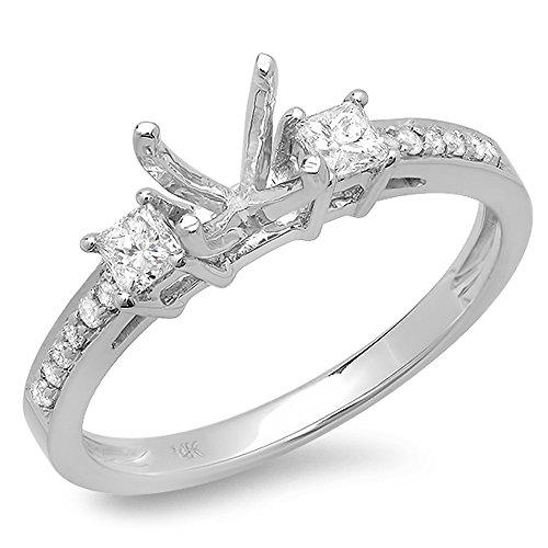 0.35 Carat (ctw) 14K White Gold Princess & Round Diamond Ladies Bridal Semi Mount Engagement Ring 1/3 CT (No Center Stone) (Size 7.5)