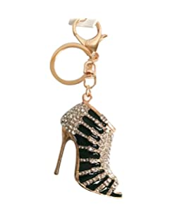 Voberry Charm Crystal Shoe High Heel Keyring Purse Pendant Bag Ring Car Key Chain (Black)