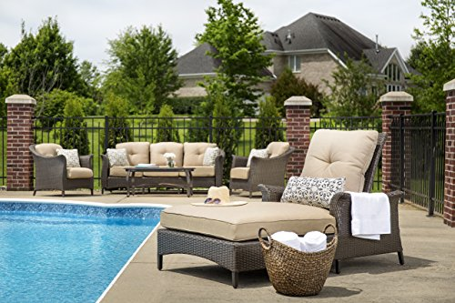 Hanover Gramercy Luxury 2-Piece Wicker Chaise Lounge Set Brown GRAMERCY2PC