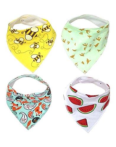 little-dreams-baby-bandana-drool-bibs-set-of-4-stylish-unisex-bandana-bibs-extra-absorbent-for-drool