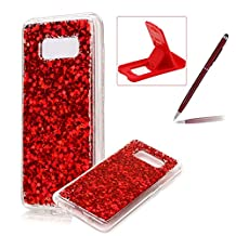 Rubber TPU Case For Galaxy S8 Plus,Herzzer Slim Lightweight Color Changing Glittering Luxury Unique [Red Sequins] Bling Shiny Sparkle Soft Silicone Gel Clear Bumper Frame Cover for Galaxy S8 Plus