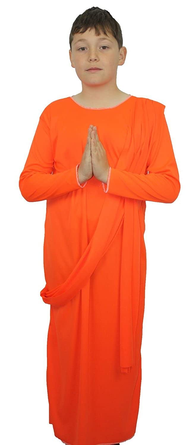 Childrens Buddhist Monk Orange Robes Fancy Dress Costume ...