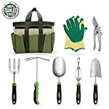 Garden Tools Set Gardening Kits Stainless Steel Heavy Duty Gifts for Men Women Including Gloves Tote and Pruning shears