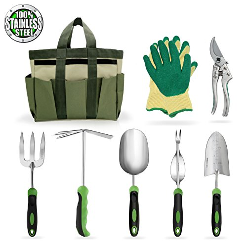 Garden Tools Set Gardening Kits Stainless Steel Heavy Duty Gifts for Men Women Including Gloves Tote and Pruning shears by ZYMHIEO