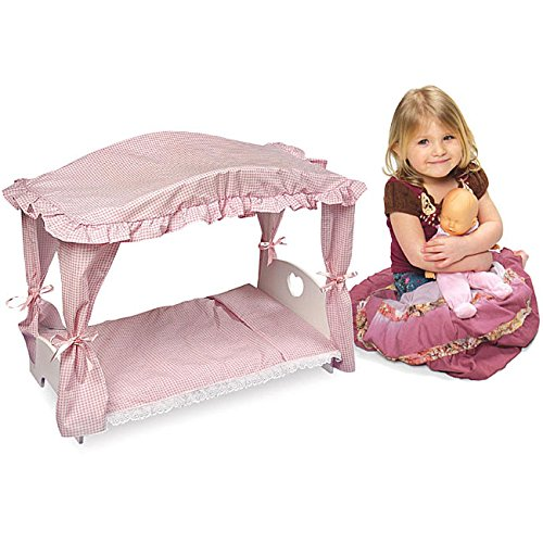 Doll Canopy Bed with Pink Gingham Bedding ()