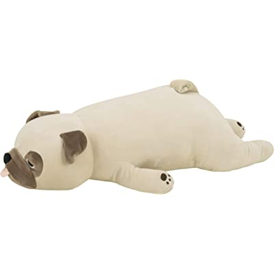 "LivHeart Premium Nemu Nemu Sleepy head Animals Body Pillow Beige Plush Dog Pug 'Hana' size M (22""x9""x5"") Japan import 48769-32 Huggable Super Soft Stuffed Toy: Home & Kitchen"