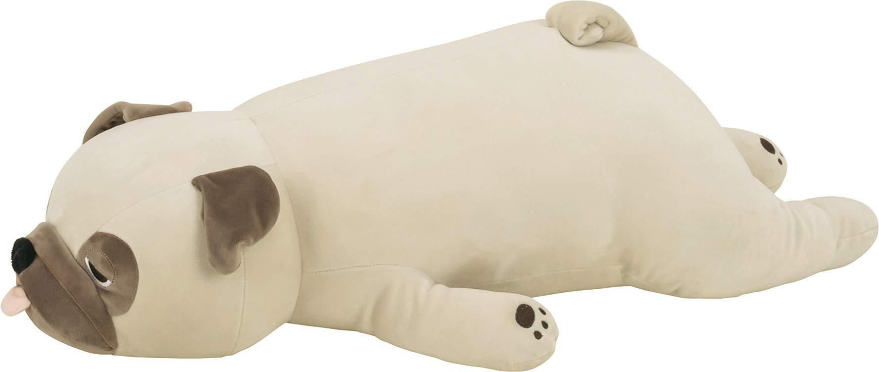 LivHeart Premium Nemu Nemu Sleepy head Animals Body Pillow Beige Plush Dog Pug 'Hana' size M (22''x9''x5'') Japan import 48769-32 Huggable Super Soft Stuffed Toy by LIV HEART