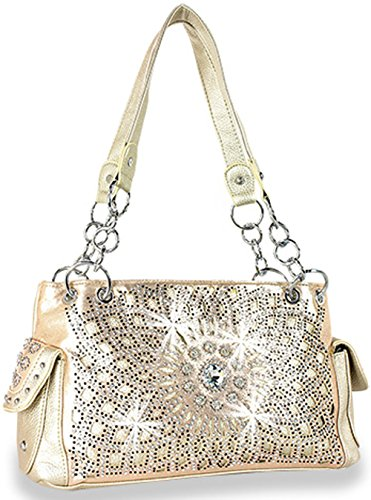 Zzfab Starburst Concealed Carry Purse Rhinestone Western Handbag (Gold)