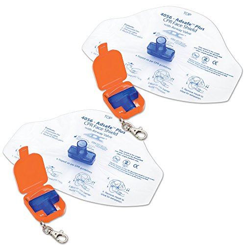 ADC 4056OR-2 Adsafe Plus Single-Use CPR Face Shield with Keychain and Case, Adult, Orange (Pack of 2)