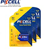 PKCELL 3 Pack 9V 6F22 Super Heavy Duty batteries