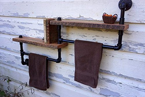 DIY Industrial Retro Wall Mount Iron Pipe Shelf Storage Shelving Bookshelf by Topower