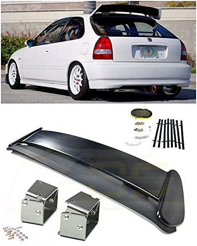 Extreme Online Store for 1996-2000 Honda Civic EJ6 3Dr Hatchback | EOS Type-R Style JDM ABS Plastic Primer Black Rear Roof Top Wing Spoiler W/Anodized Silver Alex Tilt Riser Bracket