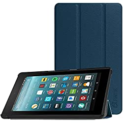 Fintie Slim Case for all-new Amazon Fire 7 Tablet (7th Generation, 2017 Release), Ultra Lightweight Slim Shell Standing Cover with Auto Wake/ Sleep, Navy Blue
