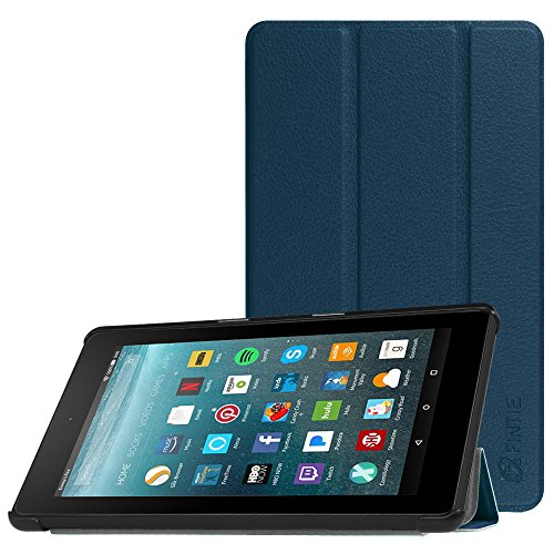 Fintie Slim Case for All-New Amazon Fire 7 Tablet (7th Generation, 2017 Release), Ultra Lightweight Slim Shell Standing Cover with Auto Wake/Sleep, Navy - Hdx Case And Cover 7 Fire Kindle