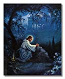 Jesus Christ Praying At Gethsemane Religious Christian Wall Picture (28x24)