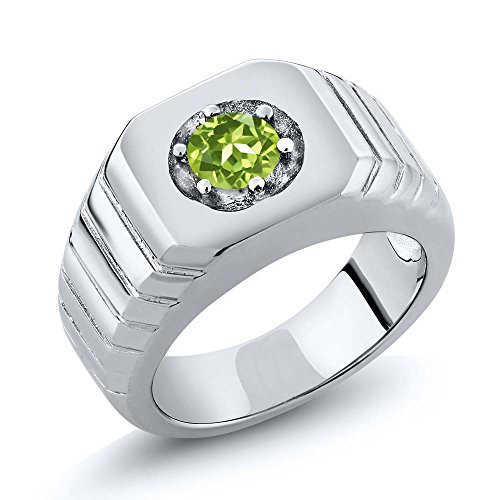 0.50 Ct Round Green Men's Solitaire Ring