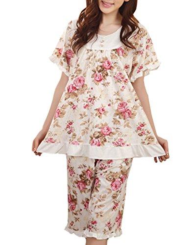 MyFav Big Girl Floral Printed Pajama Sets Rose Korean Fashion Shorts Sleepwear