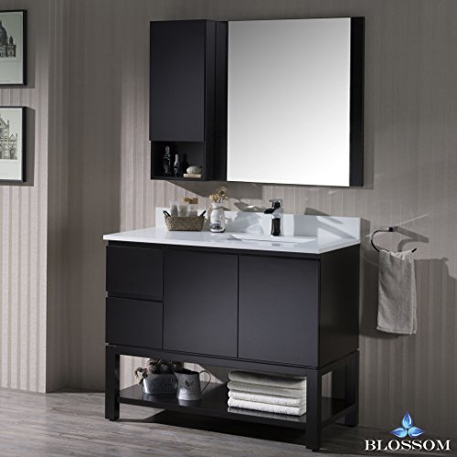 BLOSSOM 000-42-02-R-M Monaco 42″ Right Vanity Set with Mirror and Wall Cabinet Espresso