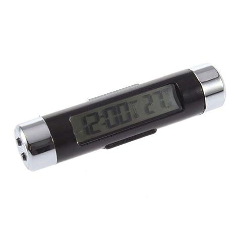 Lorsoul 2 en 1 Coche Digital de la Temperatura del LCD del Clip del Reloj del