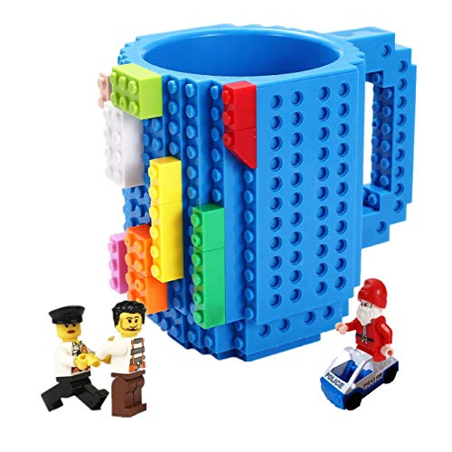 Build-on Brick Mug,with 3 packs of Blocks,Latest Version,Creative DIY Building Blocks Cup for Coffee Water Juice,BPA-free Plastic,Unique Funny Cups,Puzzle Mug,Novelty Gifts for Kids,Triumphic (Cups Novelty Drinking)