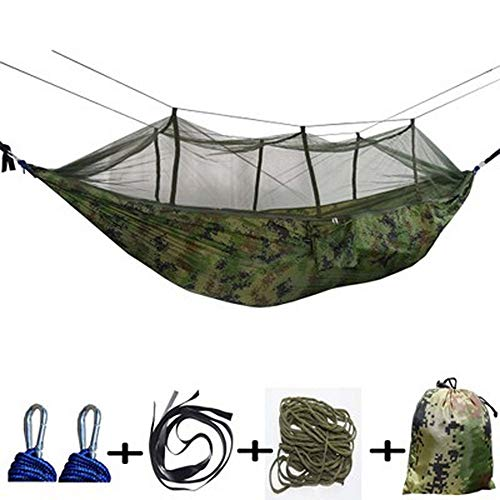 Pengxuehuang Camping Camouflage Hammock Portable Indoor Outdoor, Mosquito Net Nylon Hammock Hanging Bed Sleeping Swing,Hammocks for Backpacking, Travel, Beach, Backyard, Hiking
