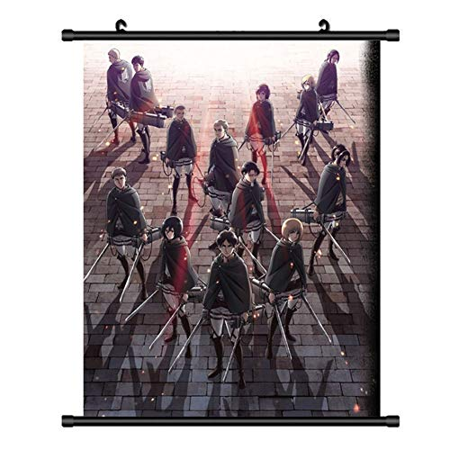 Fabric Wall Scroll Poster - Bowinr Attack on Titan Wall Scroll Poster, Japanese Anime No Fading Art Print Fabric Painting Poster for Home Decor(S-20x30cm Style 08)
