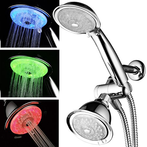 Air Shower Head - Luminex by PowerSpa 7-Color 24-Setting LED Shower Head Combo with Air Jet LED Turbo Pressure-Boost Nozzle Technology. 7 Vibrant LED colors change automatically every few seconds