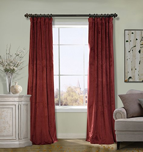 COFTY Solid Matt Luxury Heavyweight Velvet Curtain Drape with Blackout Thermal Lining Burgundy