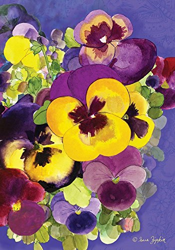 Painted Pansies Spring House Flag Floral Watercolor Style 28