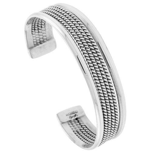 Sterling Silver Cuff Bracelet Rope Wire with Dome Edges Handmade 7.25 (Edge Cuff Bracelet)
