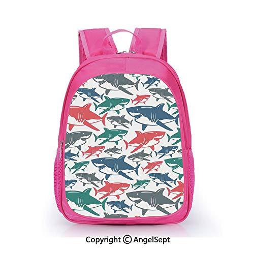 Children Schoolbag Cute Animal Cartoon Custom,Mix of Colorful Bull Shark Family Pattern Masters of Survival Kids Nursery Multi,15.7inch,Fashion Lightweight School Backpack