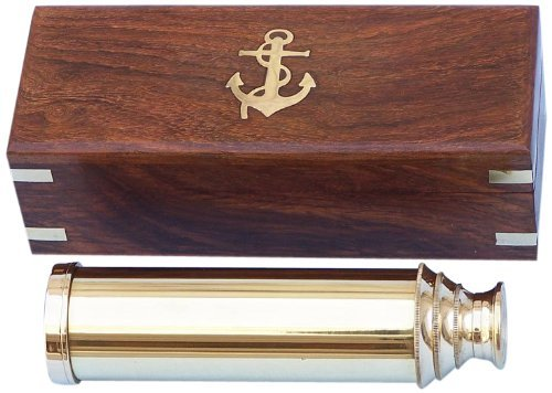 Nautical Captain's Brass Spyglass Telescope with Rosewood Box 15'' Brass Telescope by THORINSTRUMENTS (with device)