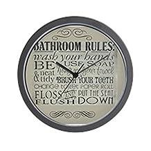 """CafePress - Bathroom Rules - Unique Decorative 10"""" Wall Clock"""