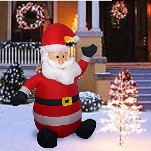 Sunlit Christmas Inflatable 4 feet LED Lighted Waving Smile Santa Electric Blow-Up Yard Party Decoration for Xmas Airblown Inflatable Outdoor Christmas Decoration for Indoor and Outdoor