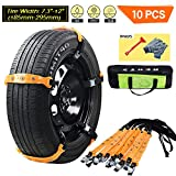 VeMee Snow Chains for Car Snow Tire Chains Car Safety Chains Emergency Traction Adjustable Chains Universal Anti Slip TIRE Snow MUD Chains 10pcs Car,SUV, Truck Width 7.3