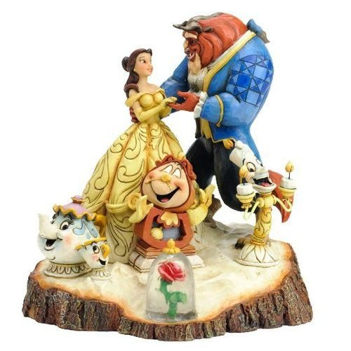 Disney Traditions by Jim Shore Beauty and the Beast Carved by Heart Stone Resin Figurine, ()