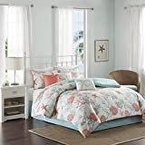 Madison Park - Pebble Beach 7 Piece Cotton Comforter Set - Coral & Teal - Queen - Coastal Theme - Includes 1 Comforter, 2 Shams, 1 Bed Skirt, 3 Decorative Pillows