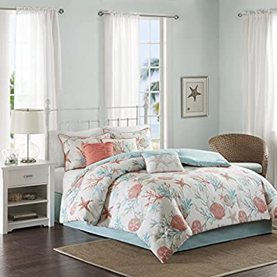 "Madison Park Pebble Beach 7 Piece Comforter Set, King, (104""x92""), Coral/Teal - Set includes: 1 comforter, 2 King shams, 1 bed skirt, 3 decorative pillows Cover: 100Percent cotton filling: 100Percent polyester Machine washable - comforter-sets, bedroom-sheets-comforters, bedroom - 51c6xalnZiL. SS400  -"